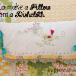 How to cover a pillow with a Dishtowel DIY