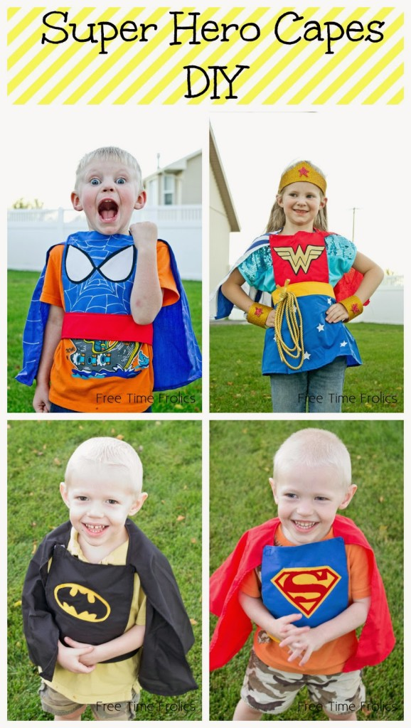 DIY super hero capes for kids www.freetimefrolics.com