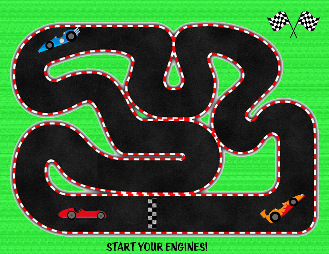 Adorable image intended for race track printable