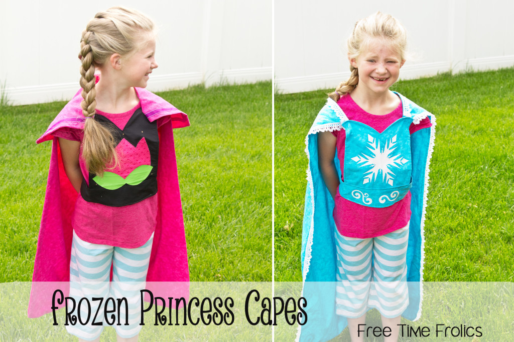 Frozen princess capes diy via www.freetimefrolics.com #sewing #elsa #anna