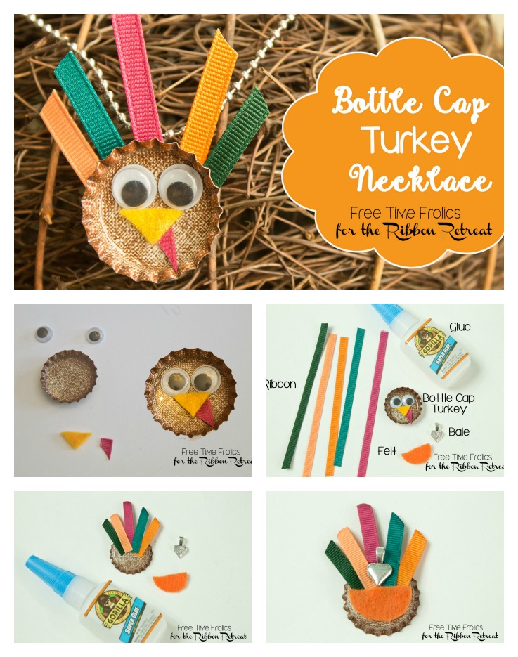 Bottle Cap Turkey necklace or pin