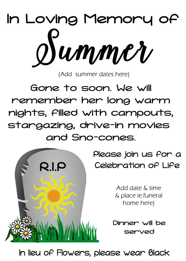Funeral for Summer Activity