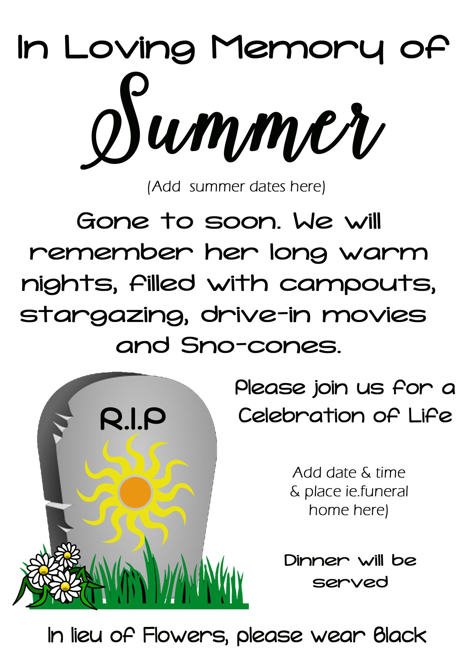 Funeral for Summer Activity - Free Time Frolics
