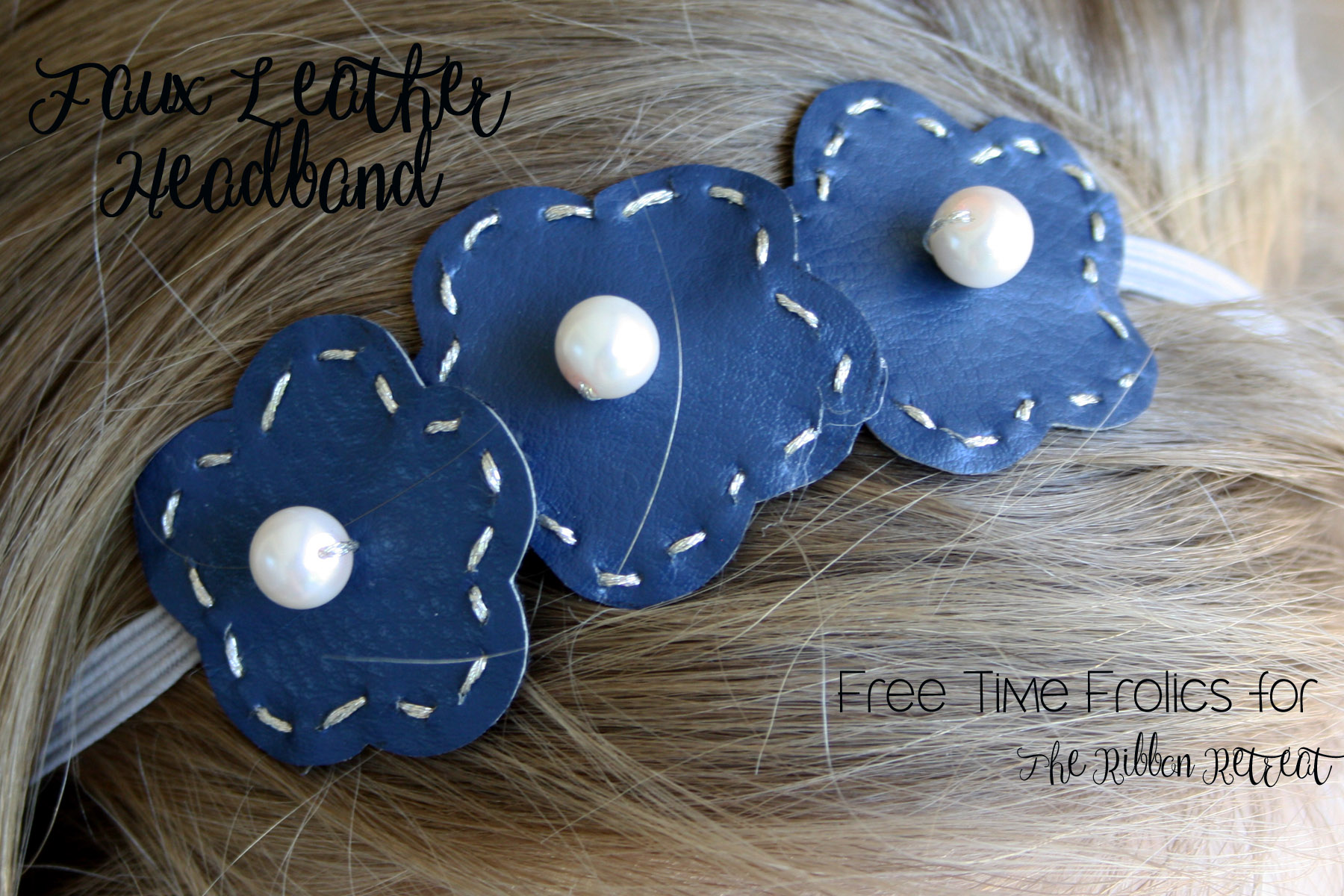 faux leather floral headband www.freetimefrolics.com