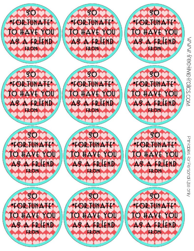 graphic regarding Cookie Printable named Fortune cookie clroom Valentine no cost printable - Absolutely free