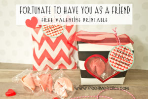 Fortune cookie classroom Valentine free printable
