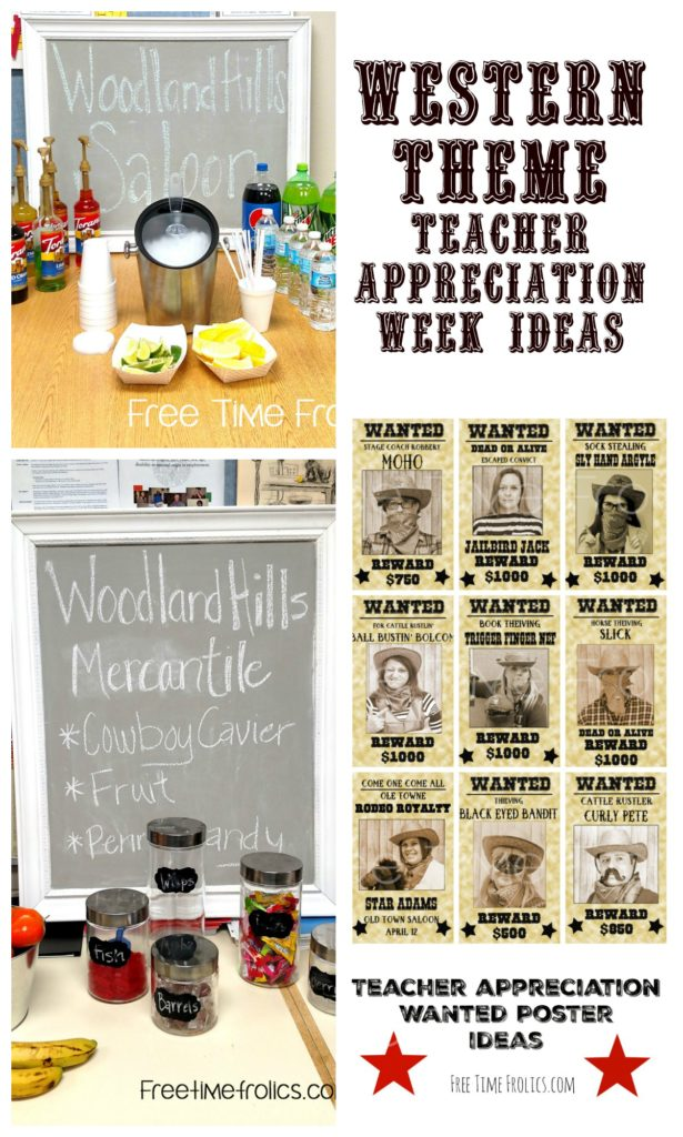 cowboy theme teacher appreciation week www.freetimefrolics.com