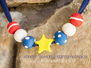 wonder woman inspired clay necklace www.freetimefrolics.com