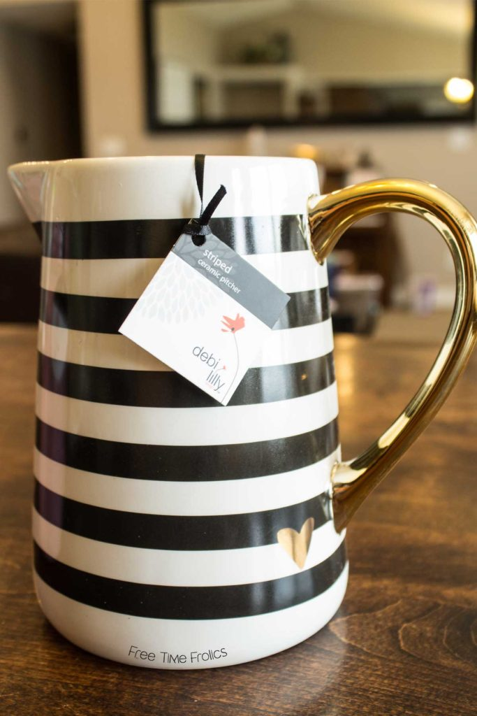 Black and white striped pitcher by debi lilly designs www.freetimefrolics.com