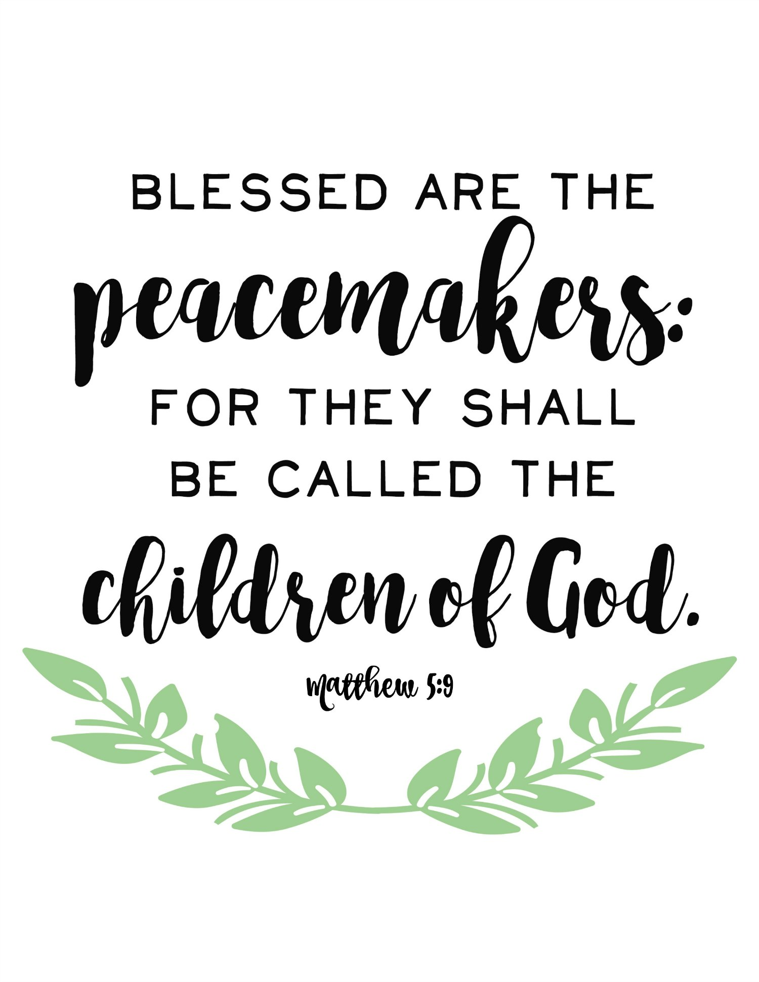 Blessed are the Peacemakers Free Printable - Free Time Frolics